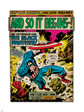 Marvel Comics Retro: Captain America Comic Panel, And So It Begins..! (aged) Plastic Sign
