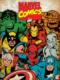 Marvel Comics Retro: Hulk, Thor, Spider-Man, Wolverine, Captain America, Iron Man and Silver Surfer Print