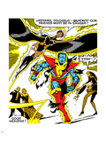 Marvel Comics Retro: X-Men Comic Panel, Colossus, Storm, Charging and Flying Plastic Sign