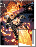 Heroes For Hire No.2: Ghost Rider Riding Motorcycle Prints by Brad Walker