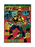 Marvel Comics Retro: Luke Cage, Hero for Hire Comic Panel, Screaming (aged) Plastic Sign