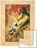 Marvel Comics Retro: X-Men Comic Panel, Phoenix, Emma Frost, Fighting (aged) Wood Print