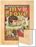 Marvel Comics Retro: My Love Comic Book Cover No.18, Kissing, Love on the Rebound (aged) Wood Print