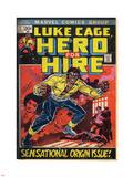 Marvel Comics Retro: Luke Cage, Hero for Hire Comic Book Cover No.1, Origin (aged) Plastic Sign