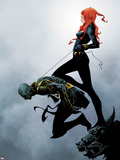 Widowmaker No.2 Cover: Black Widow Holding Another By a Rope Plastic Sign by Jae Lee