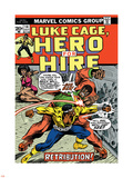 Marvel Comics Retro: Luke Cage, Hero for Hire Comic Book Cover No.14, Fighting Big Ben Plastic Sign