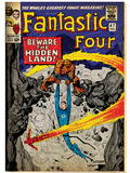 Marvel Comics Retro: Fantastic Four Family Comic Book Cover No.47, Beware, the Hidden Land! (aged) Print
