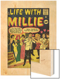 Marvel Comics Retro: Life with Millie Comic Book Cover No.13, Bathing Suit, Beach Club Dance (aged) Wood Print