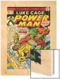 Marvel Comics Retro: Luke Cage, Power Man Comic Book Cover No.29, Fighting Mr. Fish Wood Print