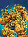 Marvel Adventures Super Heroes No.23 Cover: Thing Fighting Moloids Plastic Sign by Ale Garza