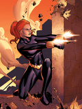 Marvel Adventures Super Heroes No.10 Cover: Black Widow Shooting Placa de plástico por Clayton Henry