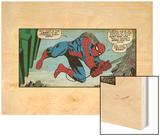 Marvel Comics Retro: The Amazing Spider-Man Comic Panel (aged) Wood Print