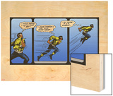 Marvel Comics Retro: Luke Cage, Hero for Hire Comic Panel, Running and Jumping Wood Print