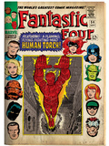 Marvel Comics Retro: Fantastic Four Family Comic Book Cover No.54, Featuring the Human Torch (aged) Poster