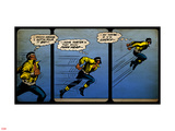 Marvel Comics Retro: Luke Cage, Hero for Hire Comic Panel, Running and Jumping (aged) Plastic Sign