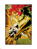 Marvel Comics Retro: X-Men Comic Panel, Phoenix, Emma Frost, Fighting (aged) Plastic Sign