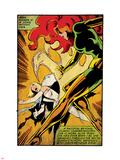 Marvel Comics Retro: X-Men Comic Panel, Phoenix, Emma Frost, Fighting (aged) Plastic Sign