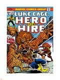 Marvel Comics Retro: Luke Cage, Hero for Hire Comic Book Cover No.13, Fighting Lion-fang, Wild Cats Plastic Sign