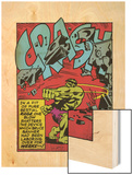 Marvel Comics Retro: The Incredible Hulk Comic Panel, Rage and Crash (aged) Wood Print