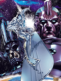 Silver Surfer No.1 Cover: Silver Surfing Riding his Silver Surf Board in Space Plastic Sign by Carlo Pagulayan