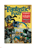 Marvel Comics Retro: Fantastic Four Family Comic Book Cover No.2, Fighting Skrulls (aged) Plastic Sign