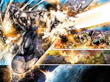 Silver Surfer No.1: Panels with Silver Surfer Riding his Silver Surfboard in Space Prints by Stephen Segovia