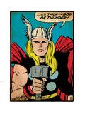 Marvel Comics Retro: Mighty Thor Comic Panel; God of Thunder! Holding Hammer (aged) Plastic Sign