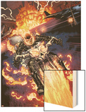 Heroes For Hire No.2: Ghost Rider Riding Motorcycle Wood Print by Brad Walker