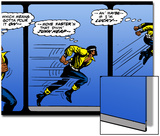 Marvel Comics Retro: Luke Cage, Hero for Hire Comic Panel, Running and Jumping Prints