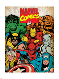 Marvel Comics Retro: Hulk, Thor, Spider-Man, Wolverine, Captain America, Iron Man and Silver Surfer Plastic Sign