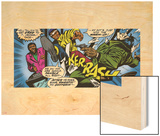 Marvel Comics Retro: Luke Cage, Hero for Hire Comic Panel, Kicking and Fighting Wood Print
