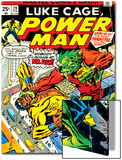 Marvel Comics Retro: Luke Cage, Power Man Comic Book Cover No.29, Fighting Mr. Fish Prints