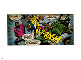 Marvel Comics Retro: Luke Cage, Hero for Hire Comic Panel, Kicking and Fighting (aged) Plastic Sign