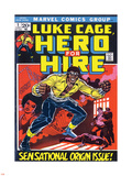 Marvel Comics Retro: Luke Cage, Hero for Hire Comic Book Cover No.1, Origin Plastic Sign