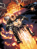 Heroes For Hire No.2: Ghost Rider Riding Motorcycle Wall Decal by Brad Walker