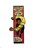 Marvel Comics Retro: Luke Cage, Hero for Hire Comic Panel, Charging (aged) Plastic Sign