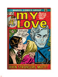 Marvel Comics Retro: My Love Comic Book Cover No.20, Kissing, When Strangers meet! (aged) Plastic Sign
