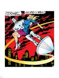 Marvel Comics Retro: Silver Surfer Comic Panel, Saving the girl Plastic Sign