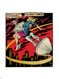 Marvel Comics Retro: Silver Surfer Comic Panel, Saving the girl (aged) Plastic Sign