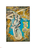 Marvel Comics Retro: Silver Surfer Comic Panel, Over the City (aged) Wandtattoo