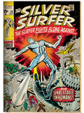Marvel Comics Retro: Silver Surfer Comic Book Cover No.18, Against the Unbeatable Inhumans! (aged) Prints