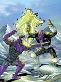 New Thunderbolts No.17 Cover: Swordsman and Baron Zemo Fighting Plastic Sign by Tom Grummett