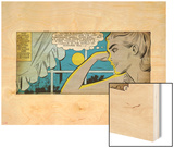 Marvel Comics Retro: Love Comic Panel, Alone at Window under Moonlight (aged) Wood Print