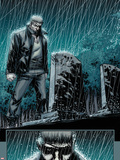 Secret Warriors No.24: Nick Fury Standing in the Rain at Night by a Tombstone Wandtattoo von Alessandro Vitti