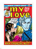 Marvel Comics Retro: My Love Comic Book Cover No.20, Kissing, When Strangers meet! Plastic Sign