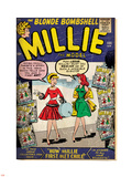 Marvel Comics Retro: Millie the Model Comic Book Cover No.100, How Millie First Met Chili! (aged) Lepicí obraz na stěnu
