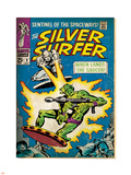 Marvel Comics Retro: Silver Surfer Comic Book Cover No.2, Fighting, When Lands the Saucer! (aged) Plastic Sign