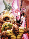 Thunderbolts No.152 Cover: Luke Cage, Man-Thing, Songbird, Moonstone, Juggernaut, & Mark V Charging Plastic Sign by Greg Land