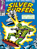 Marvel Comics Retro: Silver Surfer Comic Book Cover No.2, Fighting, When Lands the Saucer! Poster