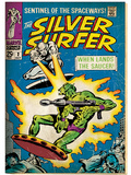 Marvel Comics Retro: Silver Surfer Comic Book Cover No.2, Fighting, When Lands the Saucer! (aged) Posters